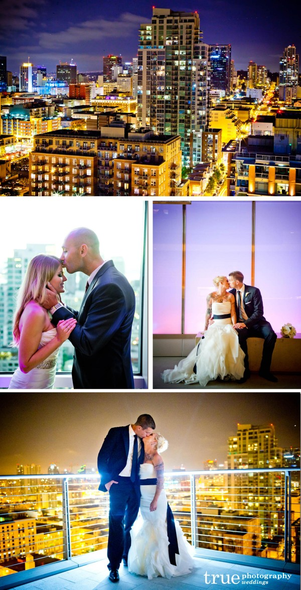 San Diego Wedding Photographers: Photos of brides and groom at night at Diamond View Tower in San Diego